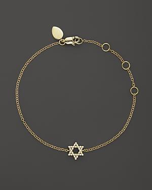 Meira T 14k Yellow Gold Star Of David Bracelet With Diamonds, .13 Ct. T.w.