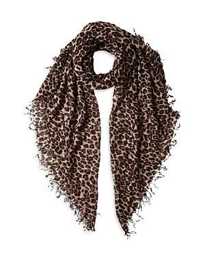 Chan Luu Leopard Print Cashmere & Silk Scarf