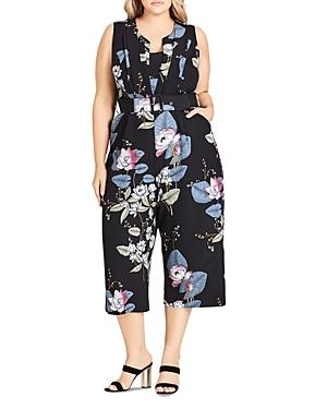 City Chic Plus Blossom-print Sleeveless Cropped Jumpsuit