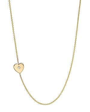 Zoe Lev 14k Yellow Gold Diamond Heart Station Necklace, 18