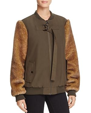 Kendall And Kylie Faux Fur-sleeve Bomber Jacket - 100% Exclusive