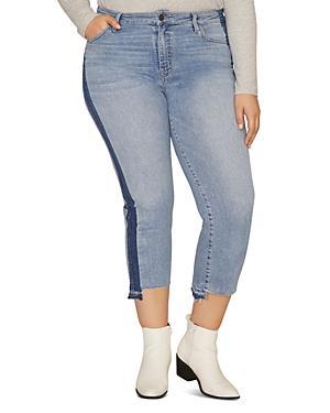 Sanctuary Curve Modern High Rise Cropped Jeans In Split Prosperity Navy