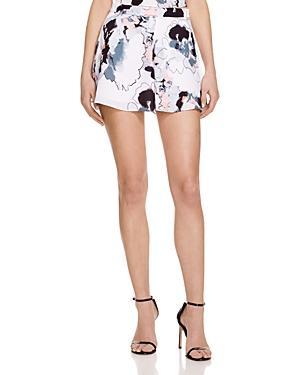 Aqua Sketch Floral Print Shorts