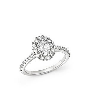 Oval Diamond Ring In 14k White Gold, 1.30 Ct. T.w.