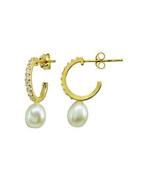 Aqua Pave & Cultured Freshwater Pearl Hoop Earrings - 100% Exclusive
