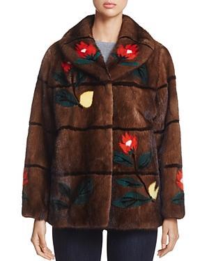 Maximilian Furs Floral Intarsia Mink Fur Coat - 100% Exclusive