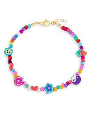 Adinas Jewels Neon Multicolor Charm & Bead Ankle Bracelet In Gold Tone