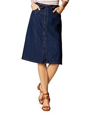 Karen Millen Button Front Denim Skirt