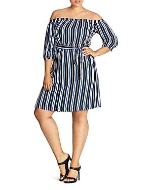City Chic Stripe Off-the-shoulder Dress