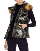 Aqua Faux Fur-trim Hooded Camo Puffer Vest - 100% Exclusive