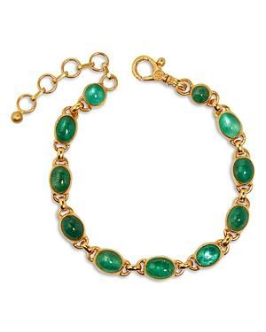 Gurhan 24k/22k Yellow Gold Emerald Link Bracelet