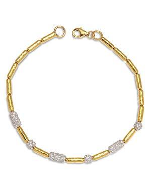 Gurhan 24k/22k Yellow Gold & 18k White Gold Diamond Pave Vertigo Bracelet