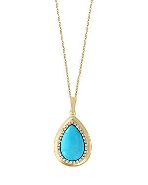 Turquoise And Diamond Halo Teardrop Pendant Necklace In 14k Yellow Gold, 18 - 100% Exclusive