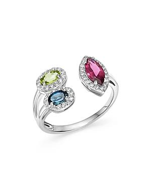 Multi Gemstone And Diamond Open Ring In 14k White Gold - 100% Exclusive