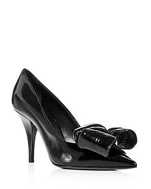 Casadei Women's Patent Leather Bow Pointed Toe Pumps