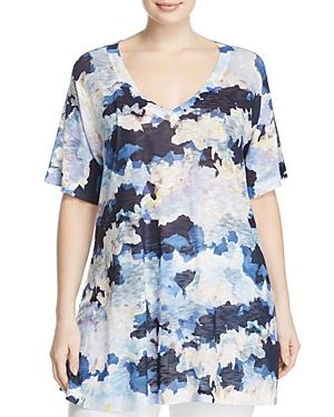 Nally & Millie Plus Watercolor Floral Print Tunic