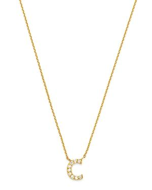 Bloomingdale's Diamond Initial Pendant Necklace In 14k Yellow Gold, 0.03-0.07 Ct. T.w. - 100% Exclusive