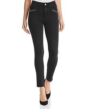 Paige Roxxi Zip-detail Skinny Jeans In Black Fog