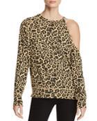 Lna Fynn Cutout Leopard Print Sweatshirt