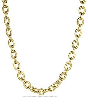 David Yurman Large Oval Link Necklace In Gold