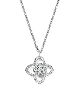 Roberto Coin 18k White Gold Diamond Flower Pendant Necklace, 16