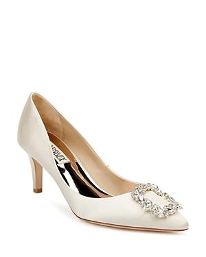 Badgley Mischka Women's Carrie Crystal Embellished Kitten Heel Pumps