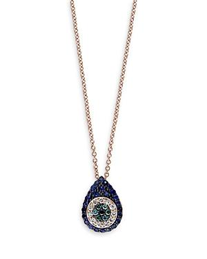 Bloomingdale's Blue Sapphire, Blue, Black And White Diamond Evil Eye Pendant Necklace In 14k Rose Gold, 16 - 100% Exclusive