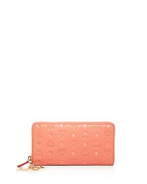 Mcm Klara Monogrammed Charm Embossed Leather Continental Wallet