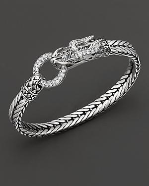 John Hardy Naga Lava Dragon Head Bracelet With White Topaz