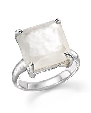 Ippolita Sterling Silver Wonderland Medium Square Stone Ring In Clear Quartz And Mother Of Pearl Doublet