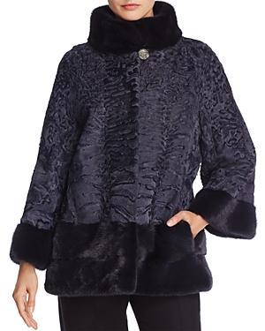 Maximilian Furs Mink Fur Trim Persian Lamb Shearling Coat