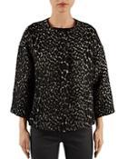 Gerard Darel Olive Leopard-pattern Jacket