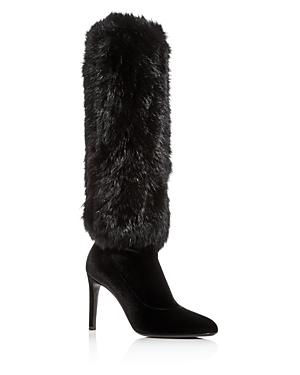 Giuseppe Zanotti Women's Rabbit Fur & Velvet Pointed Toe Boots
