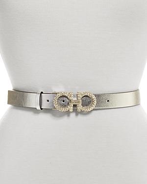 Salvatore Ferragamo Women's Embellished Double Gancini Leather Belt