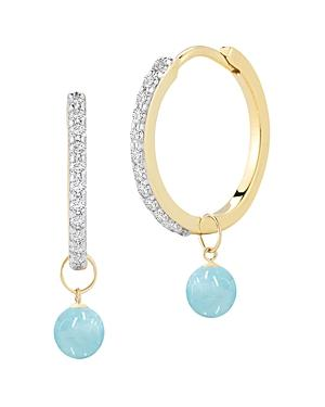 Mateo 14k Yellow Gold Diamond & Milky Aquamarine Detachable Drop Hoop Earrings