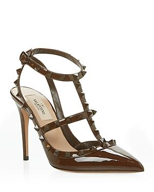 Valentino Garavani Women's Pointed Toe Pyramid Studded Strappy High Heel Pumps