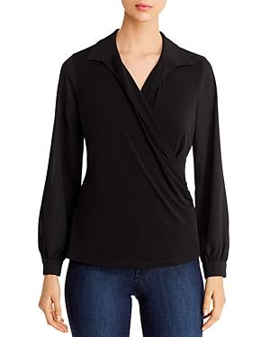 Karl Lagerfeld Paris Collared Faux-wrap Top