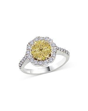 Bloomingdale's Yellow & White Diamond Halo Ring In 14k White Gold, 1.35 Ct. T.w. - 100% Exclusive