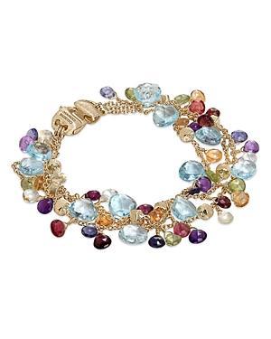Marco Bicego 18k Yellow Gold Paradise Mixed Gemstone Three Strand Bracelet