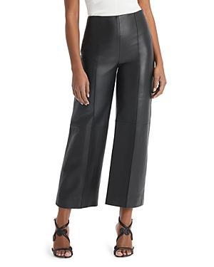Oscar De La Renta Leather Straight Leg Pants