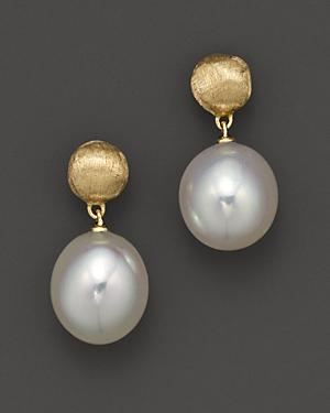 Marco Bicego Africa Pearl Collection 18k Yellow Gold And Pearl Drop Earrings