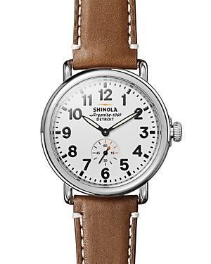 Shinola The Runwell Tan Leather Strap Watch, 41mm