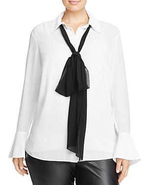 Michael Michael Kors Plus Neck Bow Blouse - 100% Exclusive