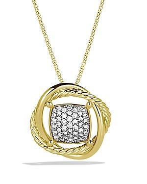 David Yurman Infinity Pendant With Diamonds In Gold On Chain