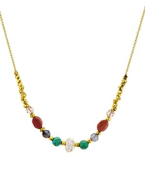 Chan Luu Mixed Stone Necklace In 18k Gold-plated Sterling Silver, 15