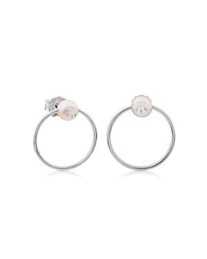 Tous Sterling Silver And Cultured Freshwater Pearl Circle Earrings