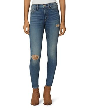 Hudson Barbara Distressed Super Skinny Ankle Jeans In Victorious