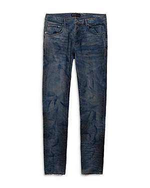 Purple Brand Dirty Resin Distressed Skinny Fit Jeans In French Blue Indigo