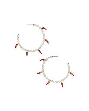 Baublebar Solita Keshi Pearl & Hot Pepper Charm Hoop Earrings