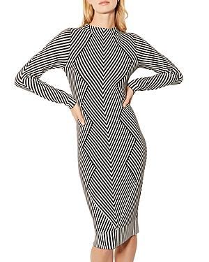 Karen Millen Chevron-pattern Midi Pencil Dress